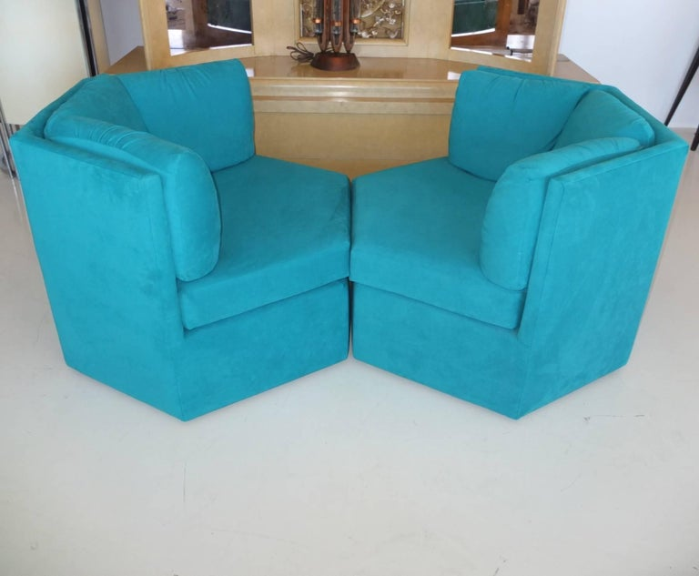 Pair Hexagonal Swivel Chairs by Milo Baughman for Thayer Coggin For Sale 7
