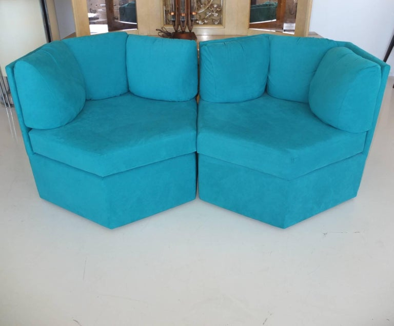 Pair Hexagonal Swivel Chairs by Milo Baughman for Thayer Coggin For Sale 8