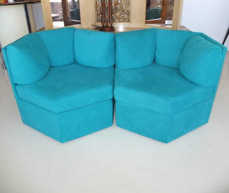 Pair Hexagonal Swivel Chairs by Milo Baughman for Thayer Coggin For Sale 9