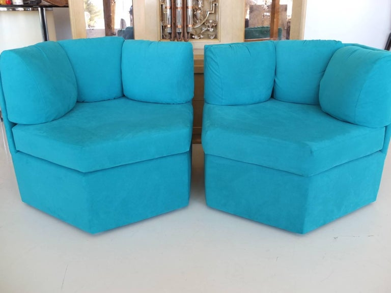 Pair Hexagonal Swivel Chairs by Milo Baughman for Thayer Coggin For Sale 14