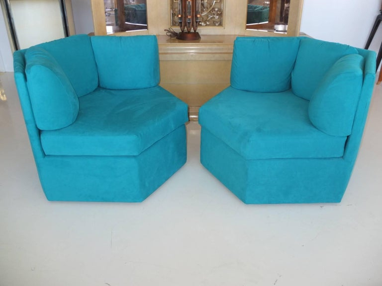 American Pair Hexagonal Swivel Chairs by Milo Baughman for Thayer Coggin For Sale