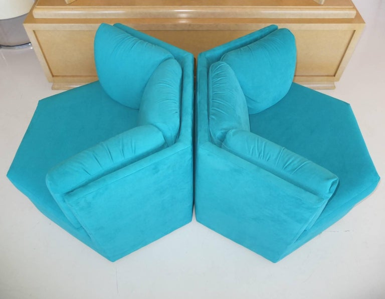 Pair Hexagonal Swivel Chairs by Milo Baughman for Thayer Coggin For Sale 2