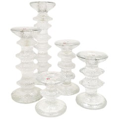 Five Iittala Festivo Candlesticks, Design by Timo Sarpaneva