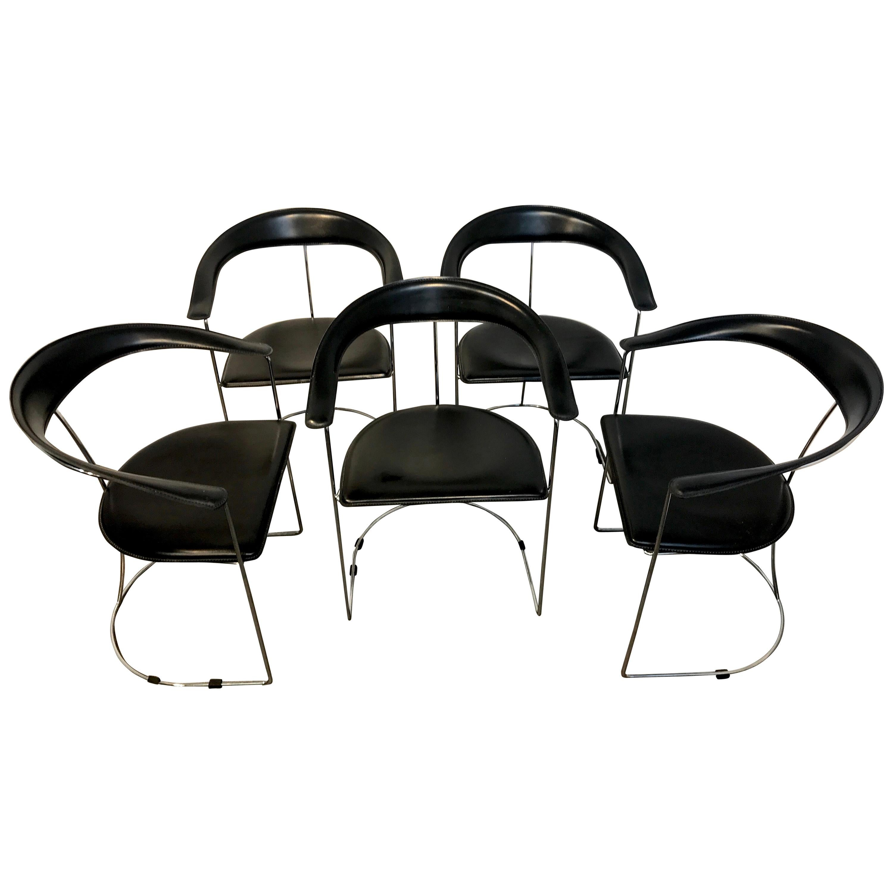 Five Italian Chrome and Black Leather Cantilever Armchairs, Handmade by Frag