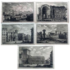 Five Italian Grand Tour Etchings Rome Views by Giuseppe Vasi, 18th Century
