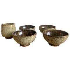Five Japanese Mingei Ceramic Bowls Tatsuzo Shimaoka