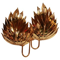 Five Large Brass Gilded Pair of Palm Sconces, Maison Jansen Attribution