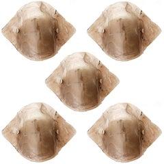 Fünf Große Kalmar Wandleuchten aus Rauchglas, 1970er
