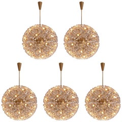 Five Large 'Sputnik' Chandeliers in Brass