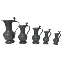Five Lidded Dutch Pitchers Pewter Holland