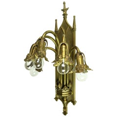 Five-Light Cast Brass Bradley and Hubbard Gothic Sconce