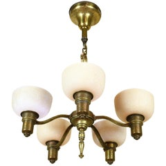 Five-Light Hammered Brass Chandelier with Leafy Shades