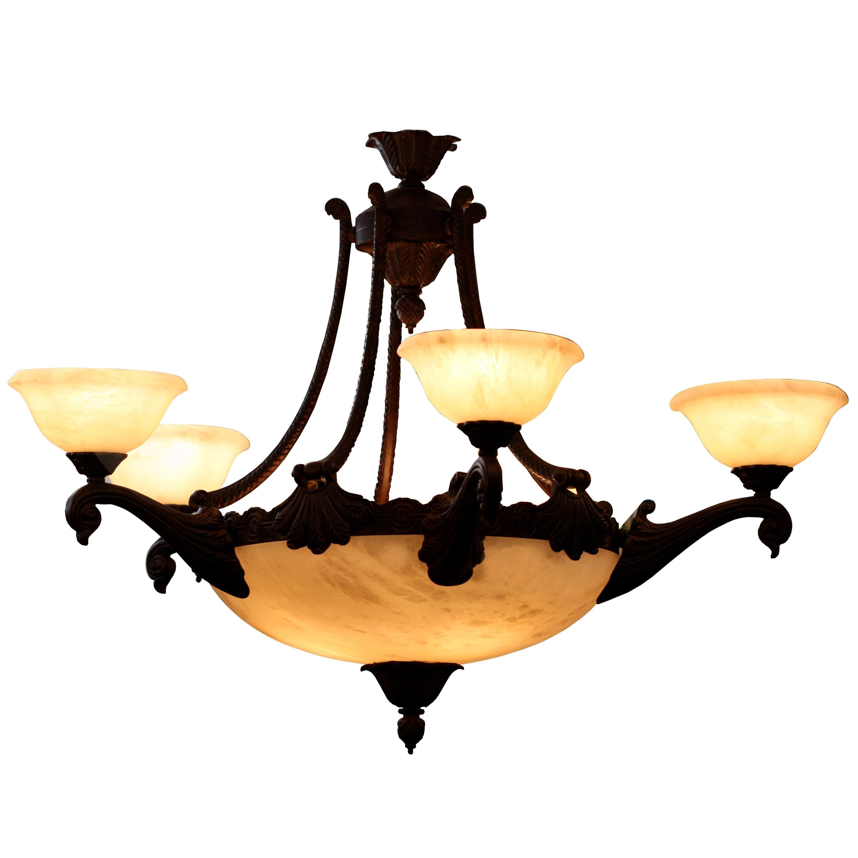 Five Light Italian Alabaster and Bronze Chandelier