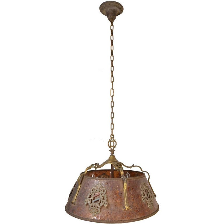 Five-Light Tudor Chandelier with Mica Shade