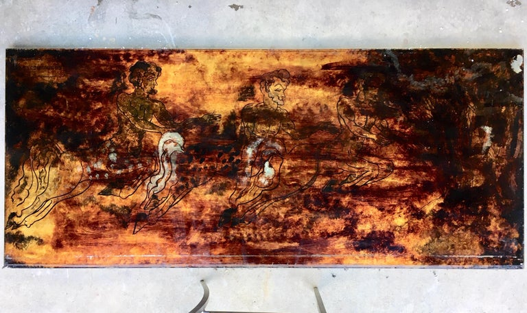 Hollywood Regency Five Midcentury Eglomisé Glass Paintings with Mythological Scenes For Sale