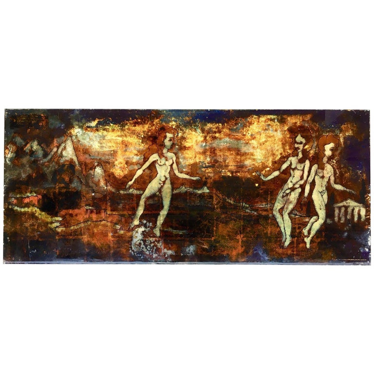 Five Midcentury Eglomisé Glass Paintings with Mythological Scenes For Sale