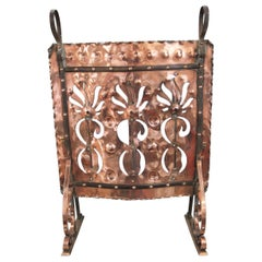 Five Mile Town by John Williams, Arts & Crafts Wrought Iron & Copper Fire Screen