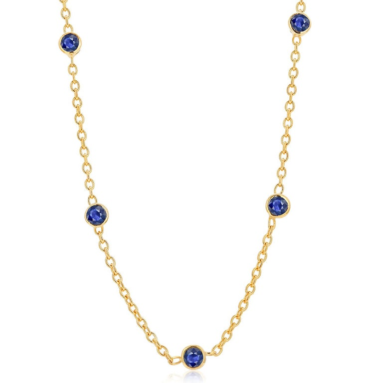 Modern Five Natural Blue Sapphire Bezel Necklace Sterling Silver Yellow Gold-Plated For Sale