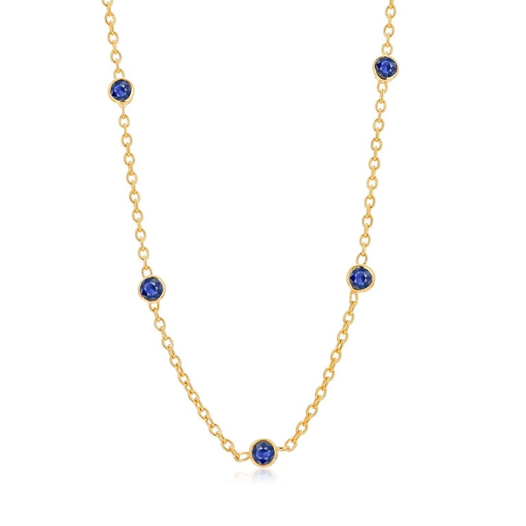 Round Cut Five Natural Blue Sapphire Bezel Necklace Sterling Silver Yellow Gold-Plated For Sale