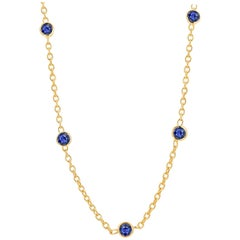 Five Natural Blue Sapphire Bezel Necklace Sterling Silver Yellow Gold-Plated