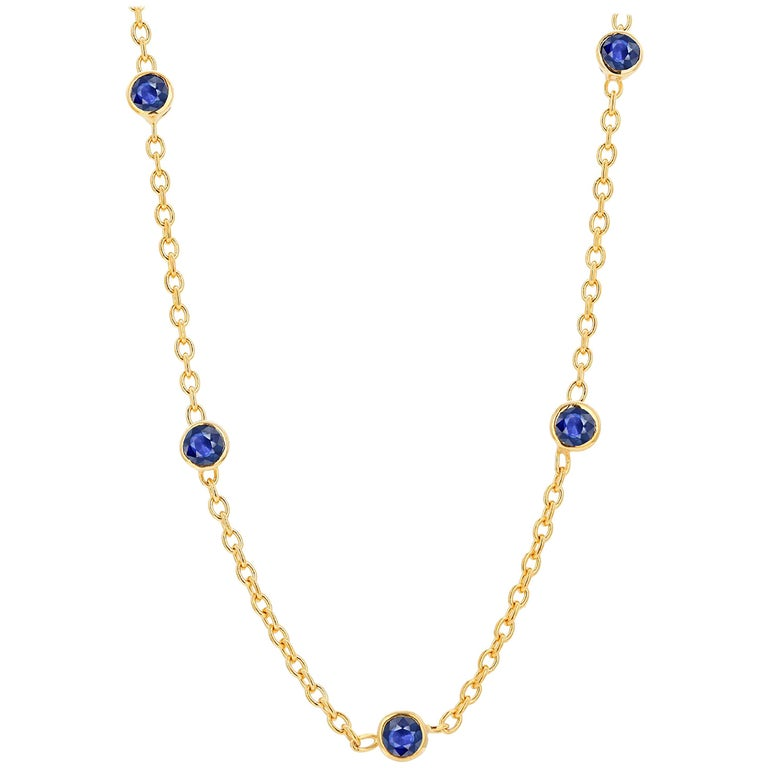 Five Natural Blue Sapphire Bezel Necklace Sterling Silver Yellow Gold-Plated For Sale