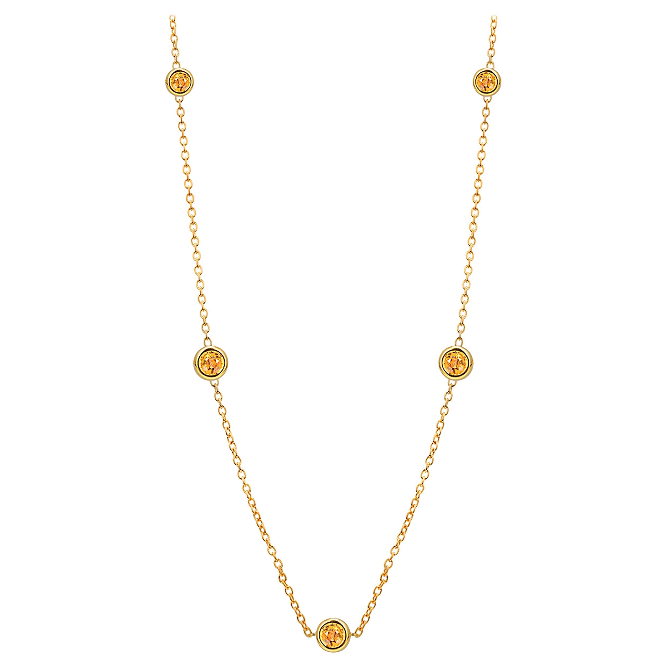 Five Natural Yellow Sapphires Bezel Necklace Sterling Silver Yellow Gold-Plated