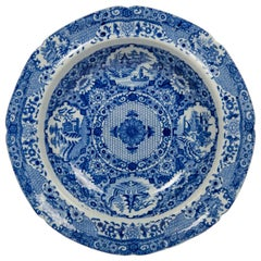 Five Net Pattern Blue and White Dishes Made Staffordshire England, circa 1820