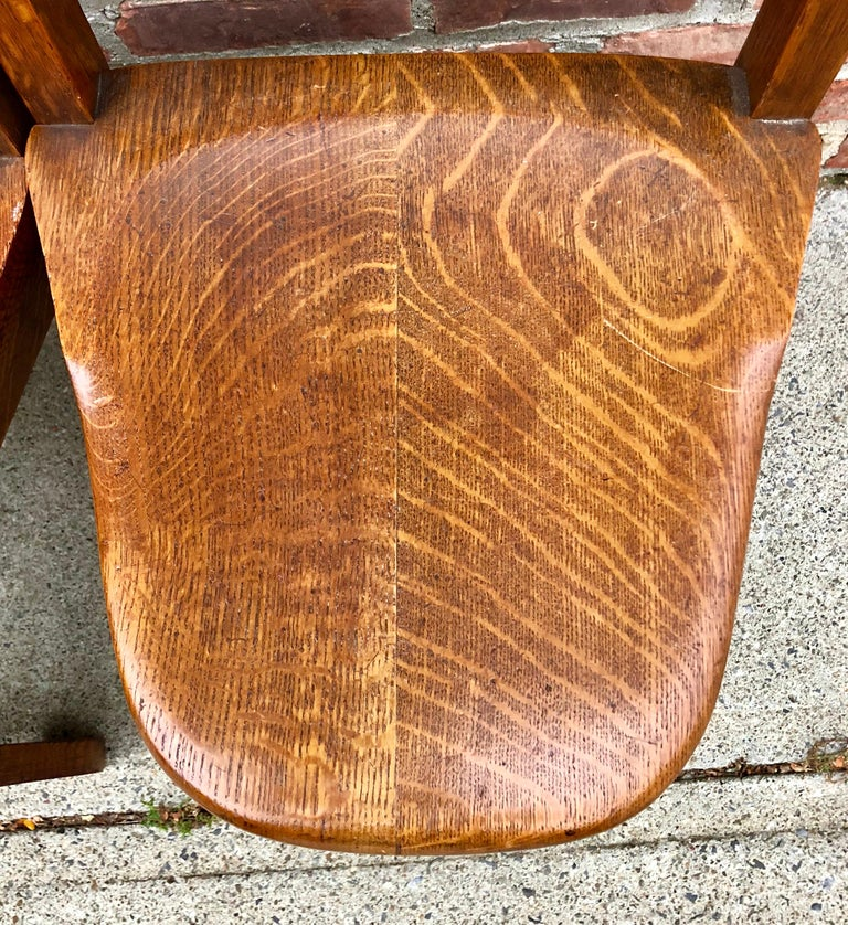 Five Oak Arts and Crafts Children's Stool/Chairs In Good Condition For Sale In Hudson, NY