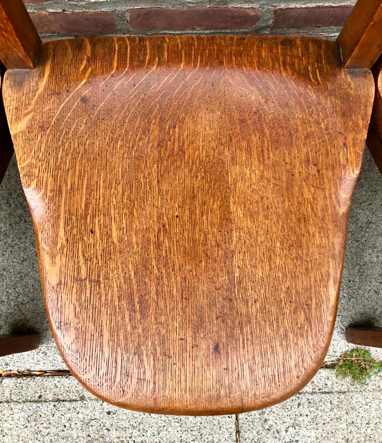 Five Oak Arts and Crafts Children's Stool/Chairs For Sale 1