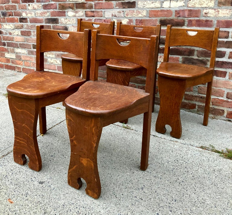 Five Oak Arts and Crafts Children's Stool/Chairs For Sale 3