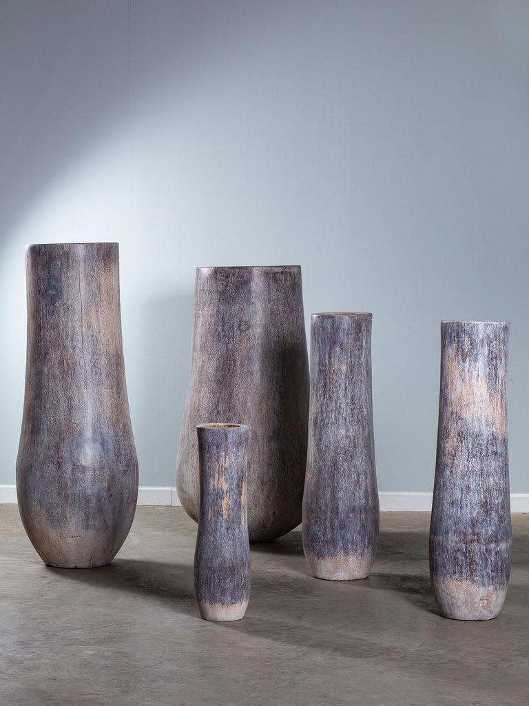 Five Organic Modern Palmwood Tree Sculptures Sumatra Indonesia For Sale 14