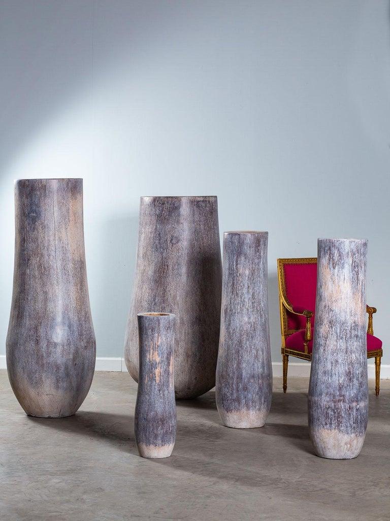 Indonesian Five Organic Modern Palmwood Tree Sculptures Sumatra Indonesia For Sale