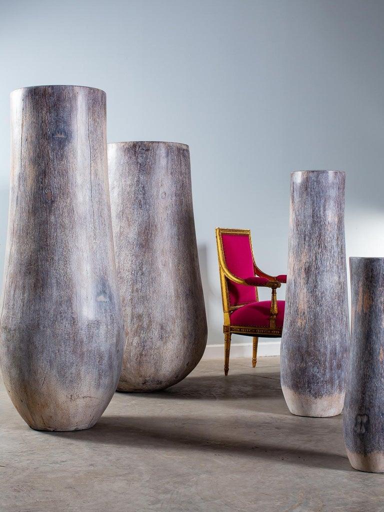 Five Organic Modern Palmwood Tree Sculptures Sumatra Indonesia For Sale 1