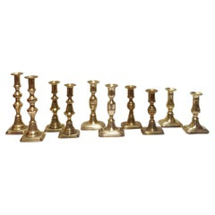 Five Pairs of 19th Century Brass Candlesticks