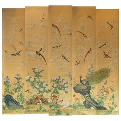 Five Panel Chinese Hand Painted Mural with Birds, Flowers and Bamboo