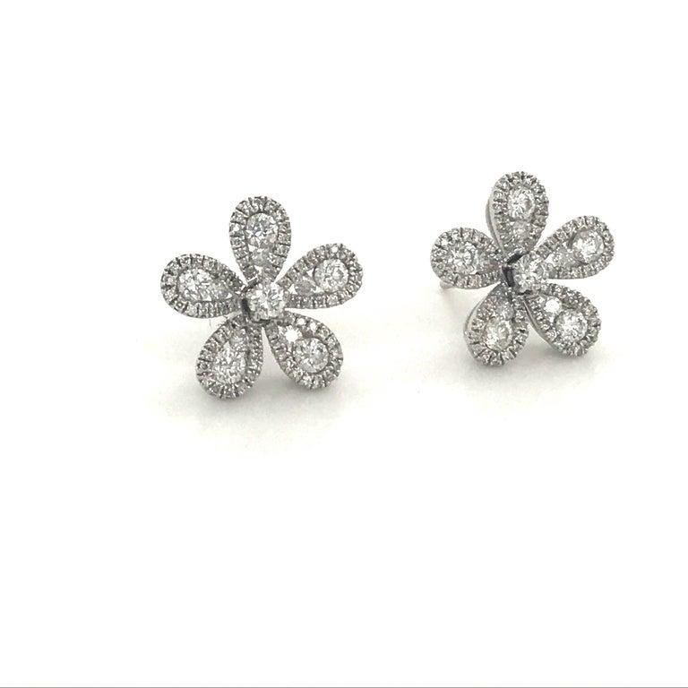Round Cut Five-Petal Diamond Flower Stud Earrings 1.36 Carat 18 Karat White Gold For Sale