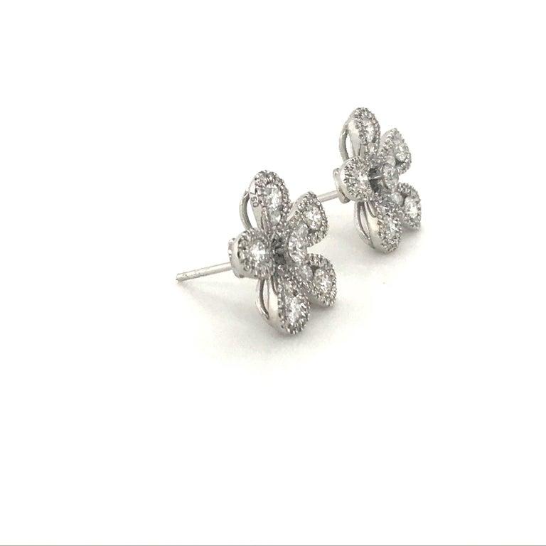Women's Five-Petal Diamond Flower Stud Earrings 1.36 Carat 18 Karat White Gold For Sale