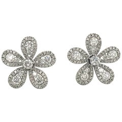 Five-Petal Diamond Flower Stud Earrings 1.36 Carat 18 Karat White Gold