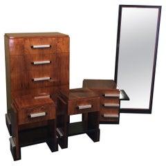 Five-Piece Art Deco Bedroom Set in Rosewood by Donald Deskey for Widdicomb
