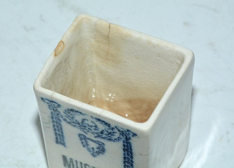 Fired Five-Piece Art Deco Blue and White Canister Set For Sale