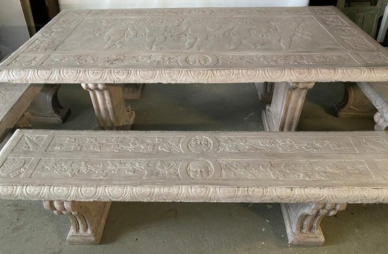 Classical Roman Five-Piece Decorated Cast Stone Garden Dining Set For Sale