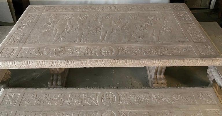 Concrete Five-Piece Decorated Cast Stone Garden Dining Set For Sale