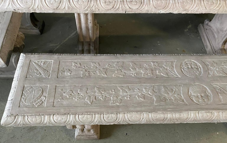 Five-Piece Decorated Cast Stone Garden Dining Set For Sale 2