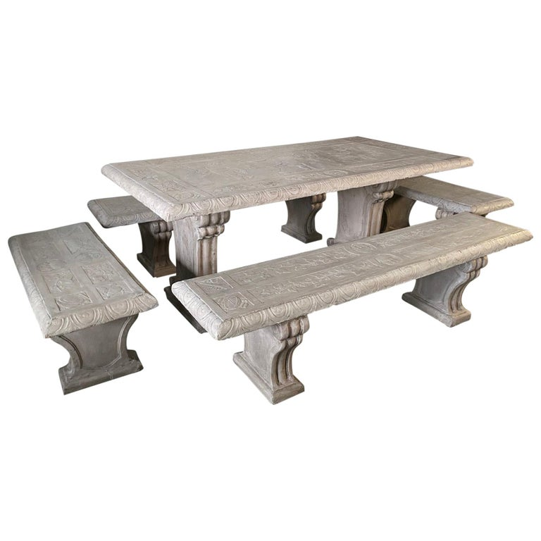Five-Piece Decorated Cast Stone Garden Dining Set For Sale