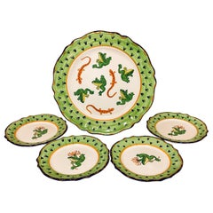 Five-Piece Deruta Made in Italy Majolica Platter and Plate Set Charger Serveware