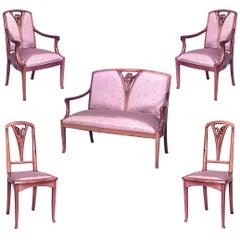 Five-Piece French Art Nouveau Walnut Living Room Set