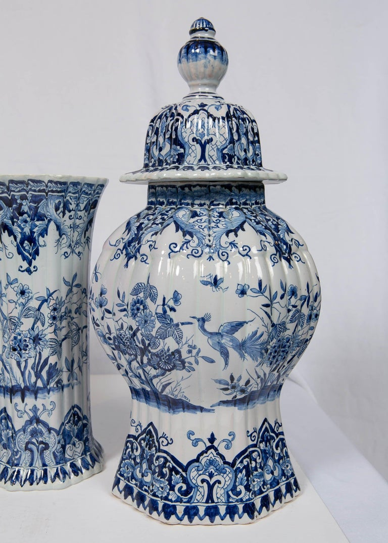 Glazed Five-Piece French Garniture in the Delft Style Made 20th Century For Sale