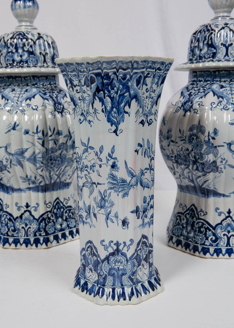 Faience Five-Piece French Garniture in the Delft Style Made 20th Century For Sale
