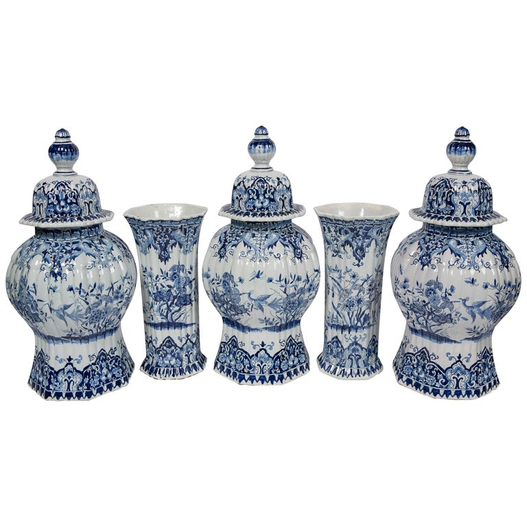 Five-Piece French Garniture in the Delft Style Made 20th Century For Sale