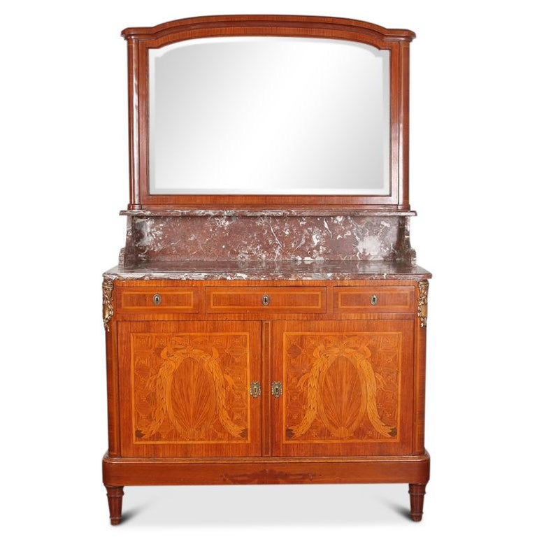 Five Piece French Inlaid Louis XVI Bedroom Suite In Good Condition For Sale In Vancouver, British Columbia